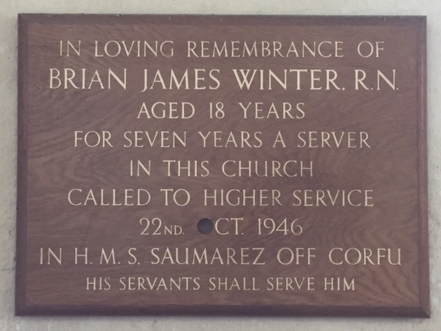 Plaque remembering Brian James Winter
