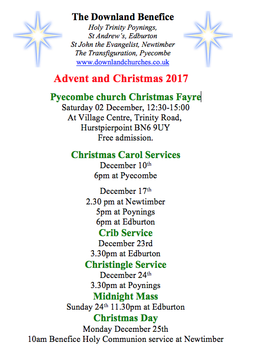 Advent and Christmas Services list
