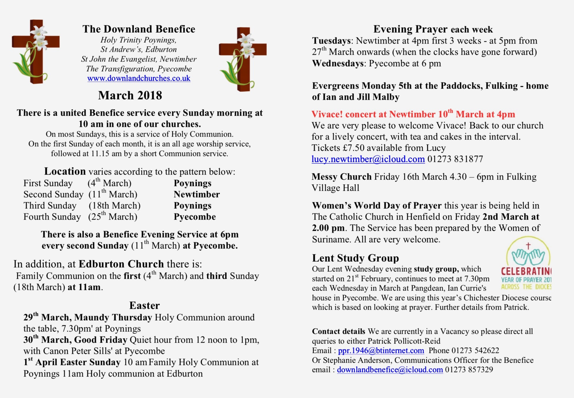 List of events and services in March
